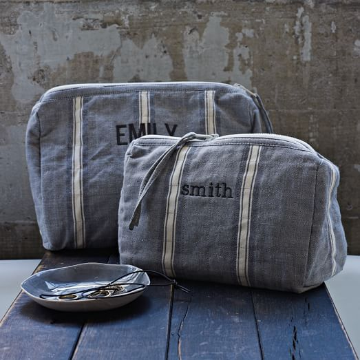 Chambray Stripe Cosmetic Bag | west elm