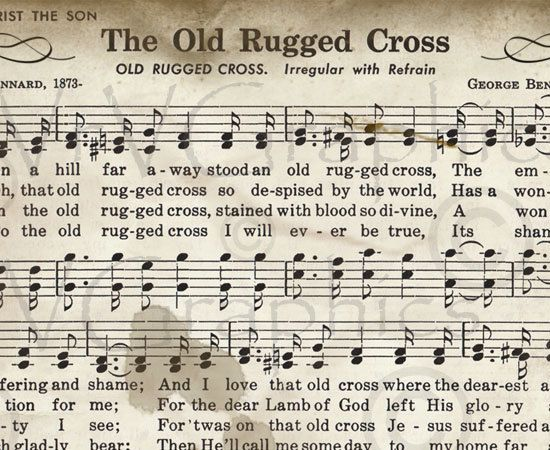 The Old Rugged Cross Sheet Music Hymn Hymnal Digital Image Vintage Clipart Scan U