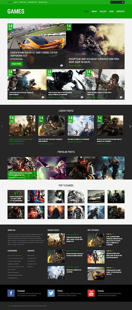 Top 10 WordPress Themes for a Video Game Website | Portal website
