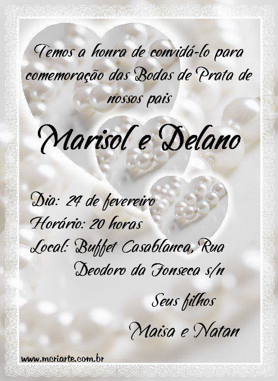 Convite De Bodas De Prata Com Imagens Bodas De Prata Convites