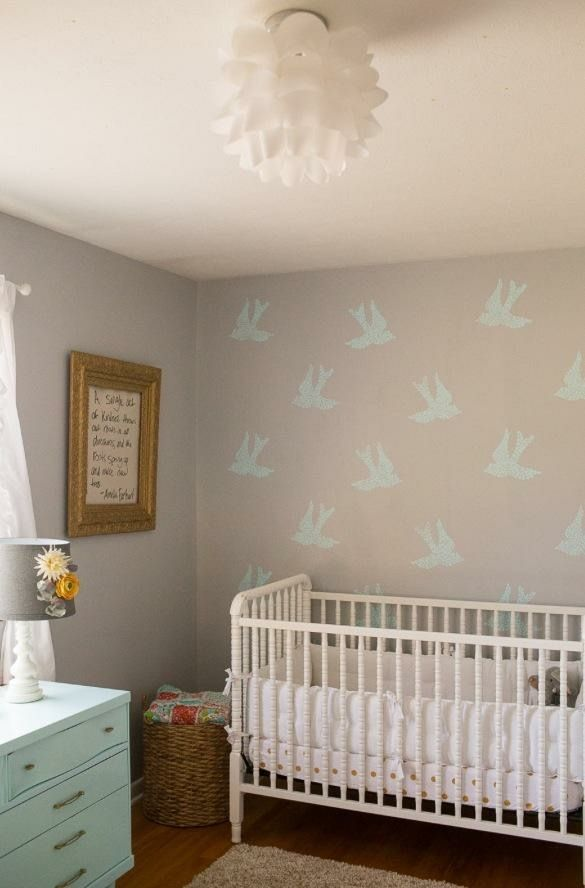 Baby Girl Nursery With Royal Designs Fly Away With Me Stencil My