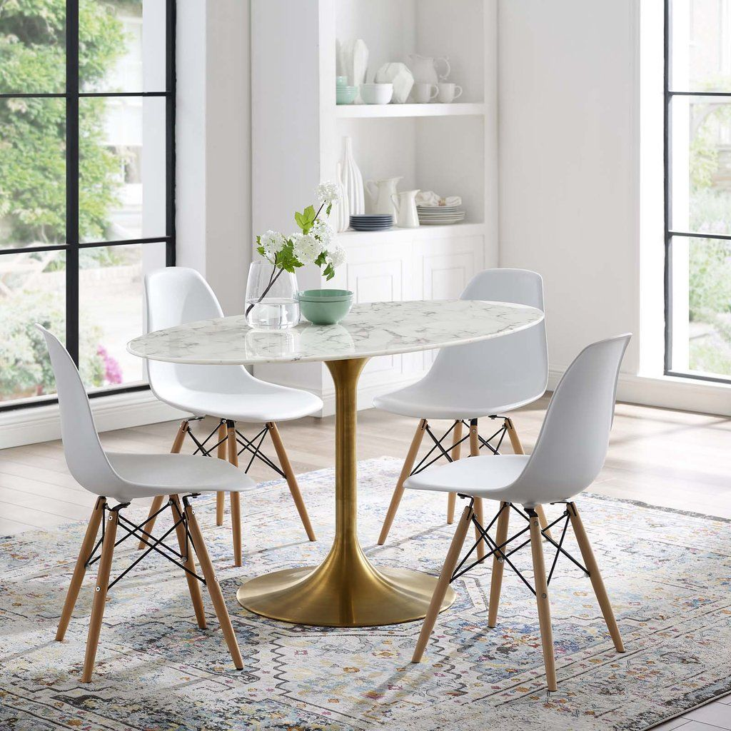 Modway Lippa 54 Oval Artificial Marble Dining Table In Gold White