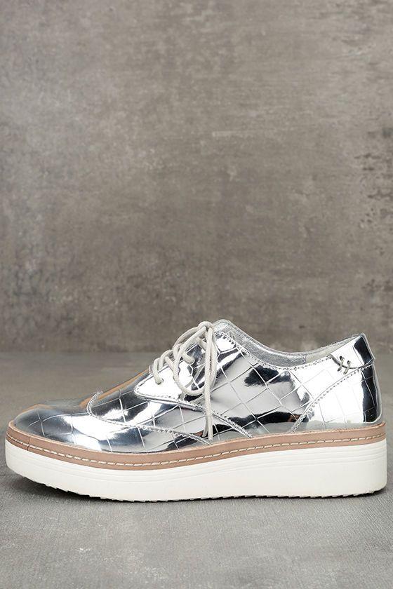 bafd1b5b9eb Steven by Steve Madden Pharo Silver Patent Platform Sneakers in 2019 ...