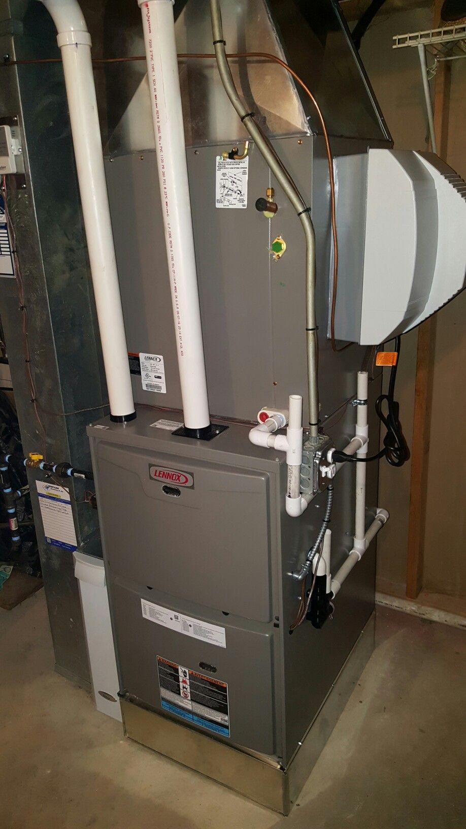 lennox ml193 high efficiency furnace cased evaporator coil provided by lennox through their heatupillinois com program aprilaire 700a powered humidifier  [ 918 x 1632 Pixel ]