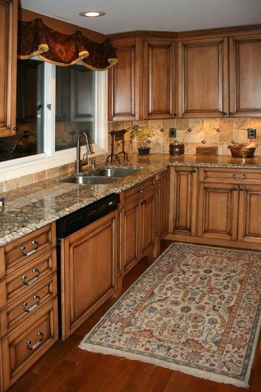 kitchen backsplash ideas for cherry cabinets   Kitchen   Pinterest ...