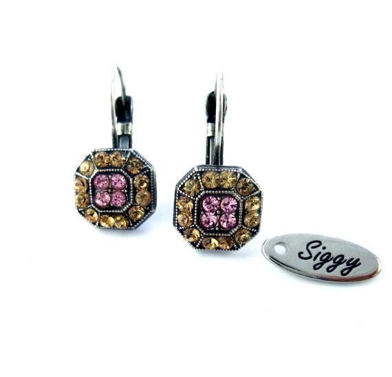 AUDREY Swarovski crystal earrings rose and by SiggyJewelry on Etsy
