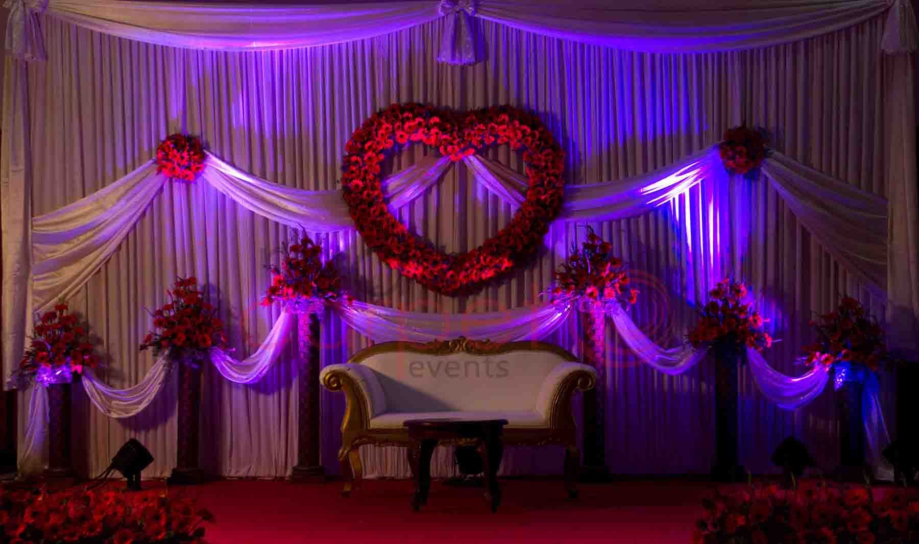 Indian wedding reception decorations valentine theme for Wedding reception room decoration ideas