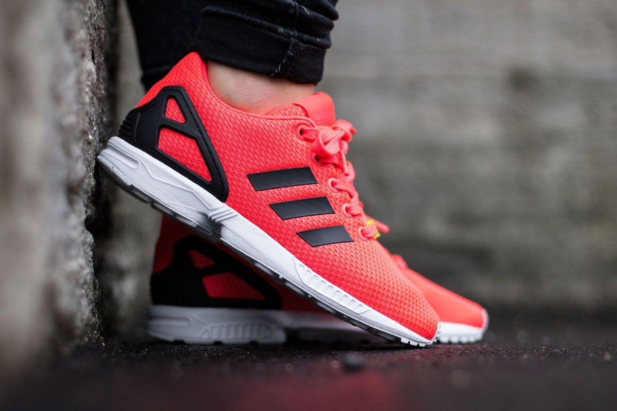 """low priced b86f5 deea5 adidas ZX Flux """"Neon Red"""""""