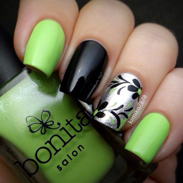 Image via green black nail art Image via Cosmic Ocean black and green nail  art designs Image via black and green nail art designs tutorial Image via  Indigo ... - Pin By Angela Schilling On Nail Art Pinterest Beautiful, Black