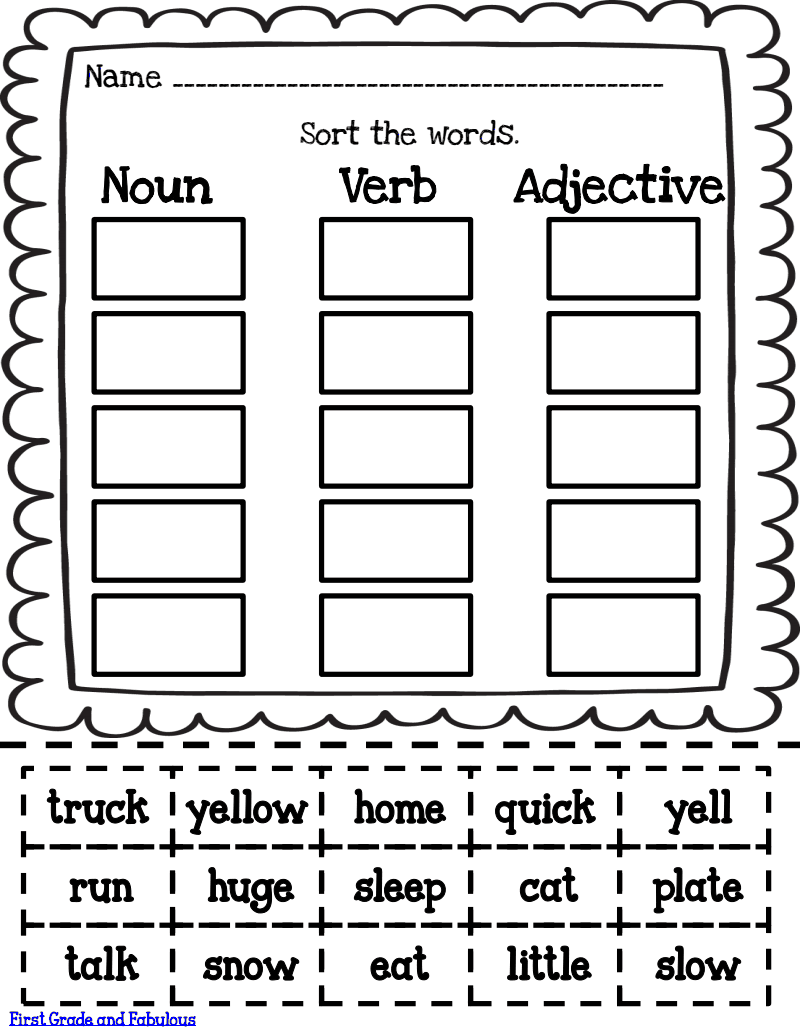 Sorts.pdf - Google Drive   Nouns verbs adjectives [ 1035 x 800 Pixel ]