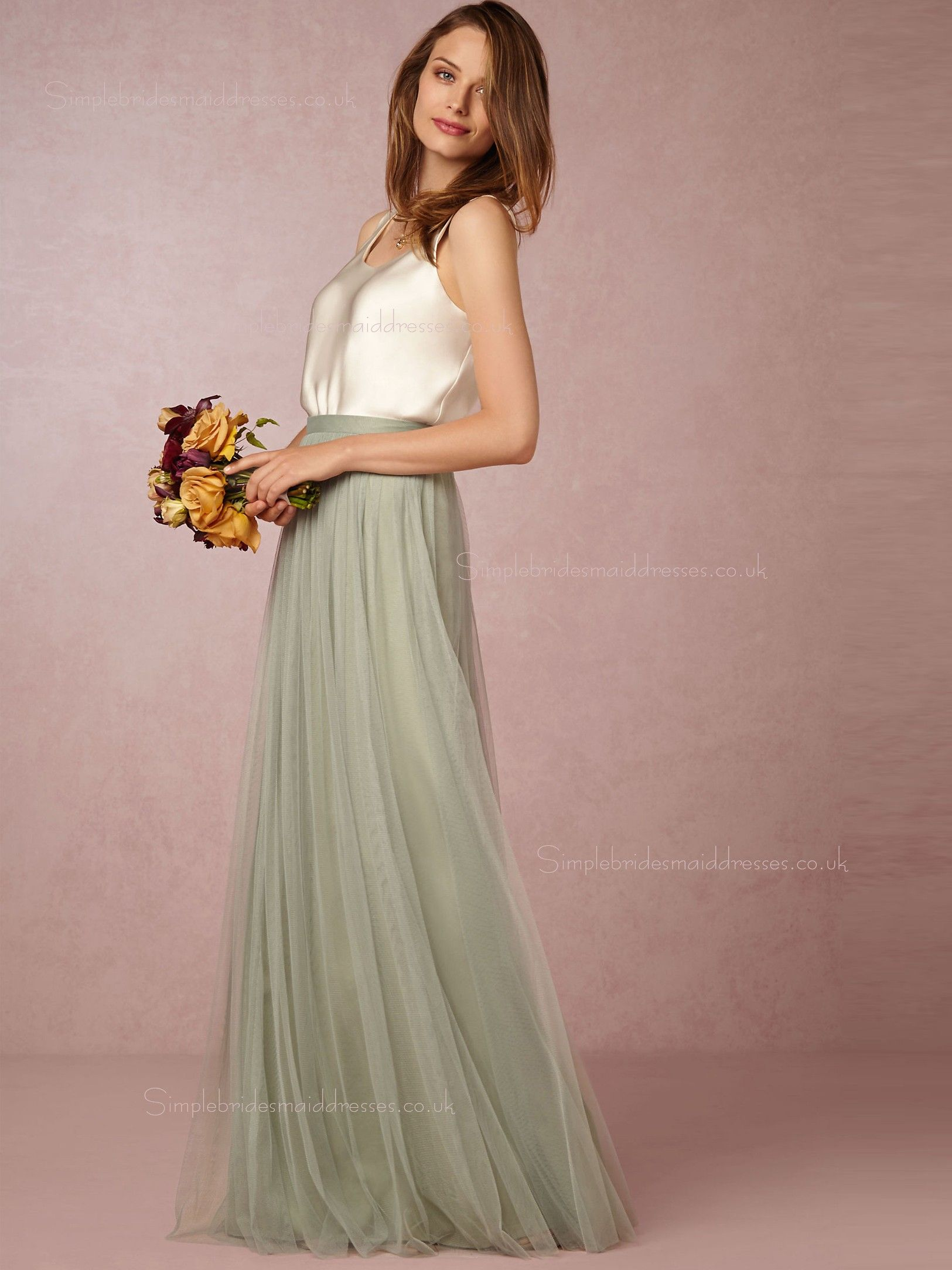 Popular A-line Bateau Green Natural Backless Bridesmaid Dresses ...