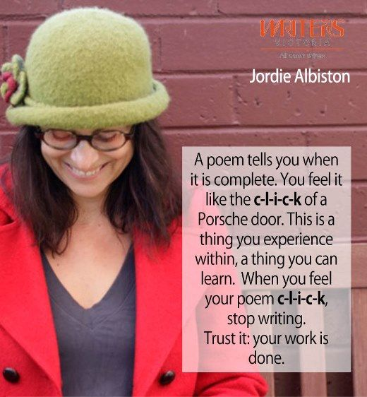 Jordie Albiston at Writers Victoria https://writersvictoria.org.au/civicrm/event/info?reset=1&id=94 #writingtips #poetry
