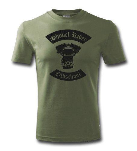 """Biker Shirts für Männer - Rockheadz Motorcyclewear Shop - Motiv """"Shovelhead"""" in der Farbe olive"""