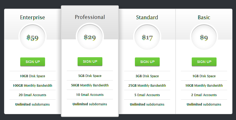 Wordpress Pricing Table Second Template  Wordpress