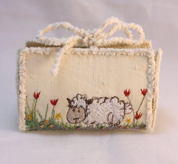 Sheep Wedding favor box gift card holder Cream by NellsEmbroidery