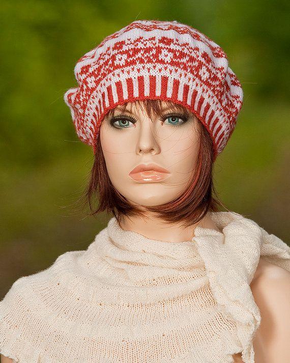 Knitted fair isle beret, fair isle tam, fair isle hat, jacquard ...