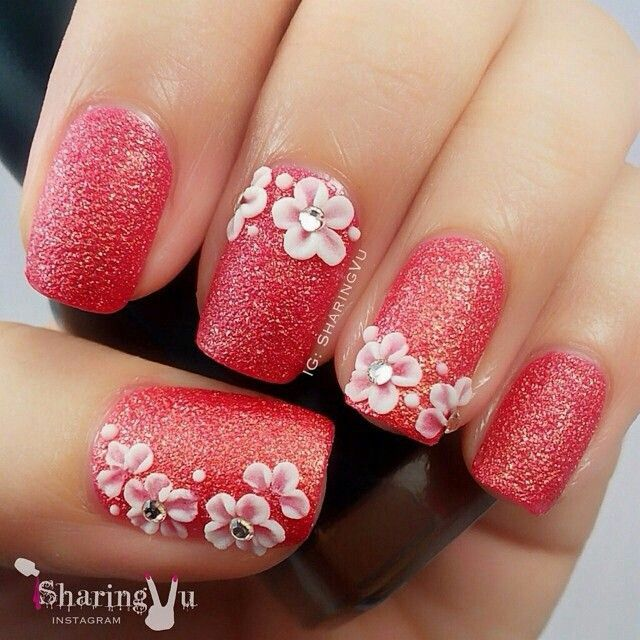 Peachy Pink Glitter 3d Flower Nailart Nailart Nails Summer