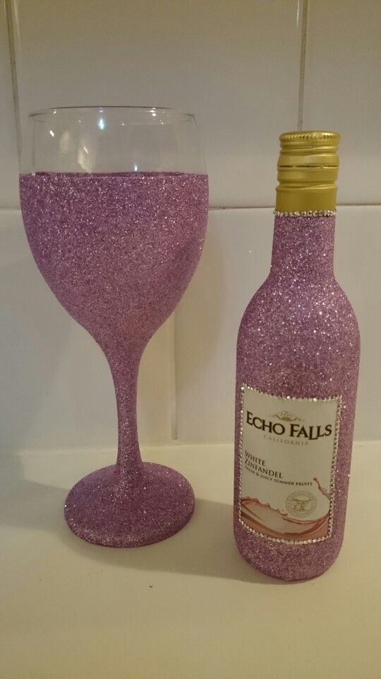 Dusky pink glitter mini wine bottle gift