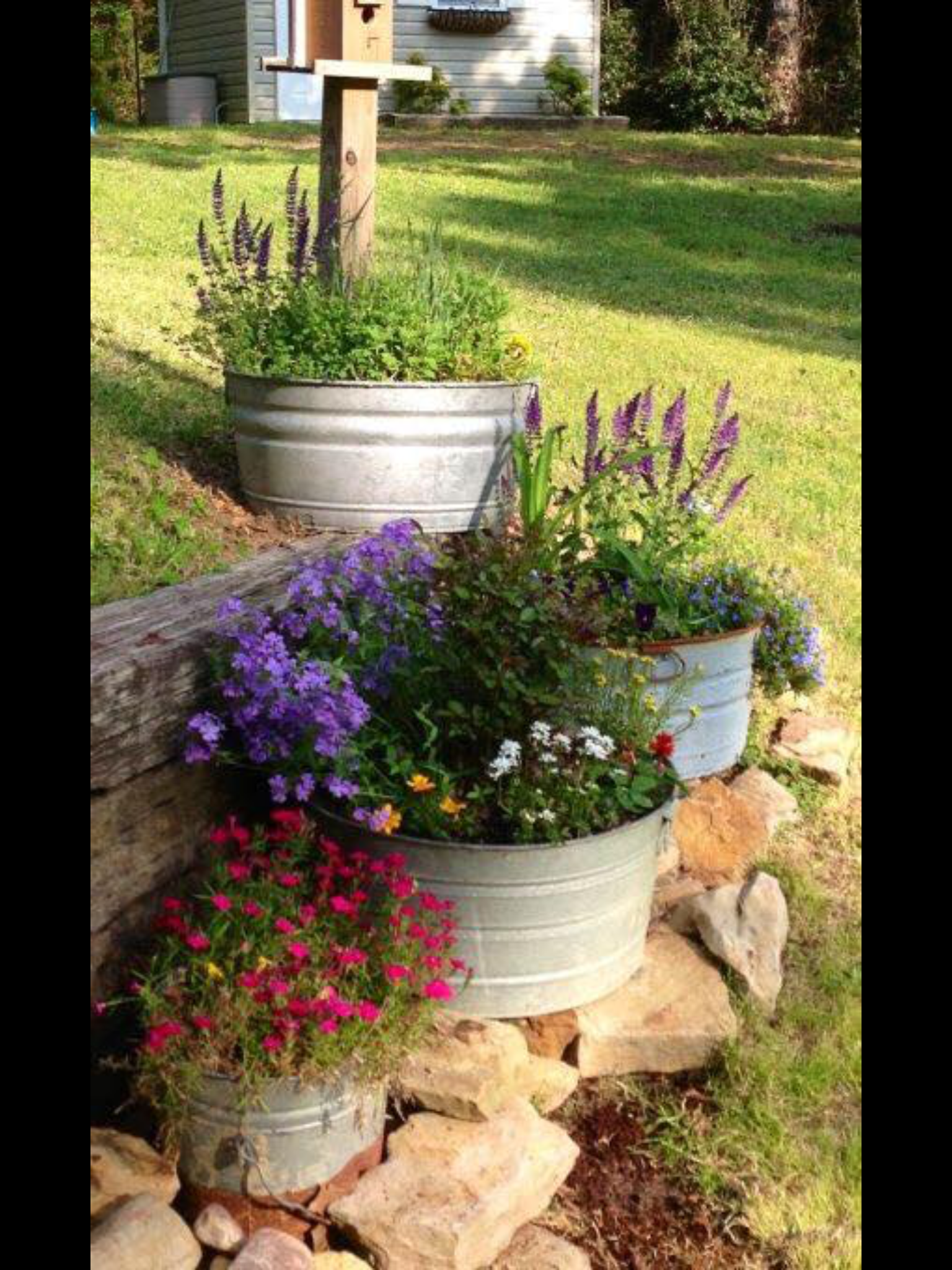 High Quality Galvanized Metal Tubs Filled With Flowers