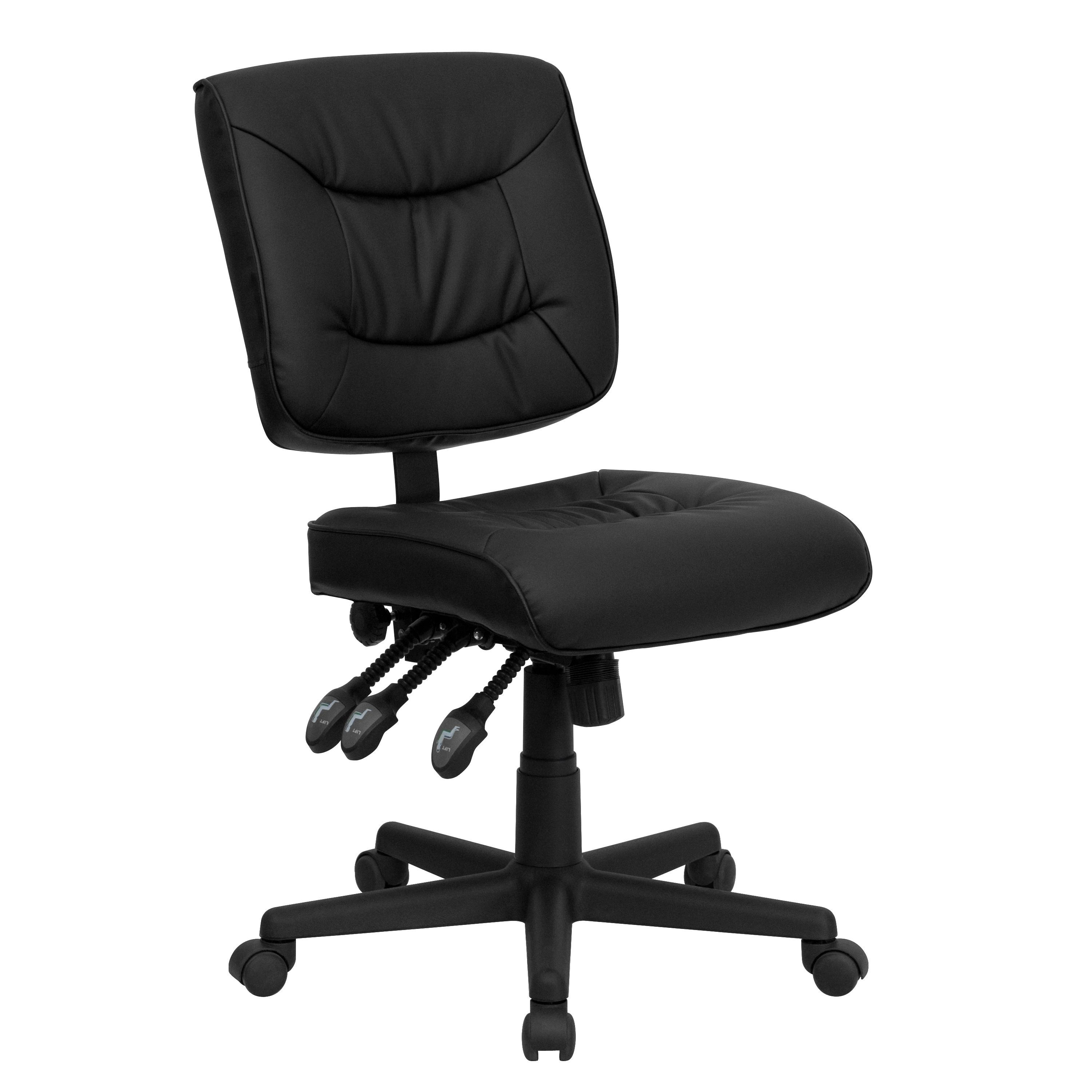 Awe Inspiring Cardle Armless Black Leather Adjustable Swivel Office Chair Pdpeps Interior Chair Design Pdpepsorg