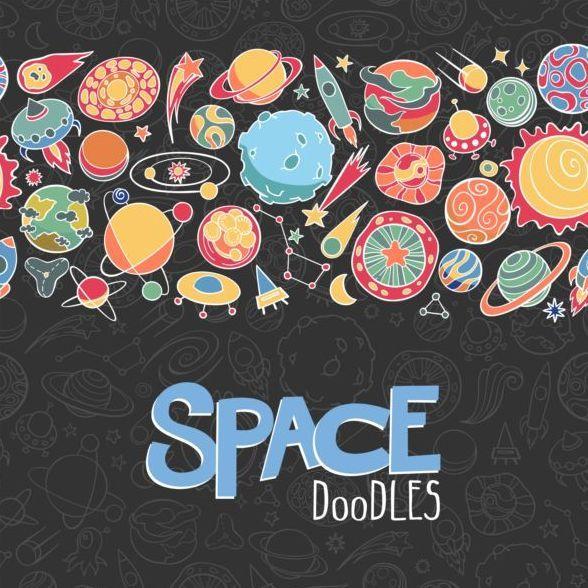 Cartone animato sfondo spazio doodles vettoriale lo spazio