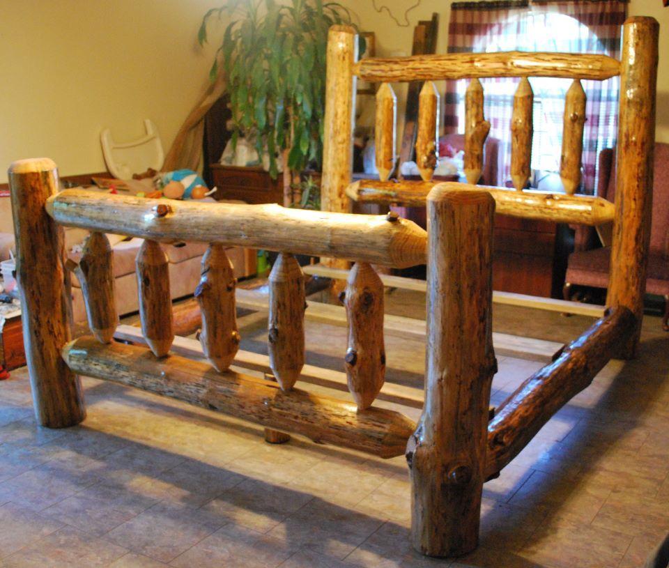 King Size Log Bed Western furniture, Log bedroom