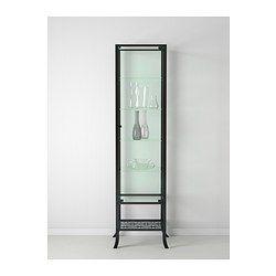 KLINGSBO Glass-door cabinet, black, clear glass