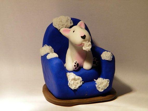 English bull terrier handmade collectable  figurine Bodacious bullies handsculpted ooak english bull terriers it wasn't me