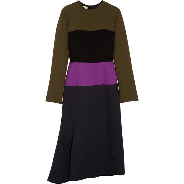 Marni Color-block crepe dress (1,600 BAM) ❤ liked on Polyvore featuring  dresses · Midnight Blue ...