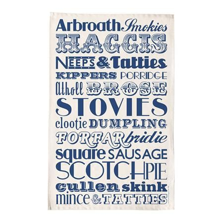 Scottish Dinner Tea Towel, Navy