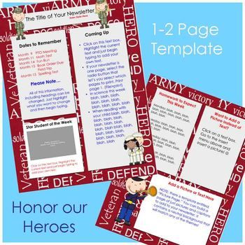 Honor Our HeroesKid Friendly And FunReady To Use Just Open Type - 2 page newsletter template