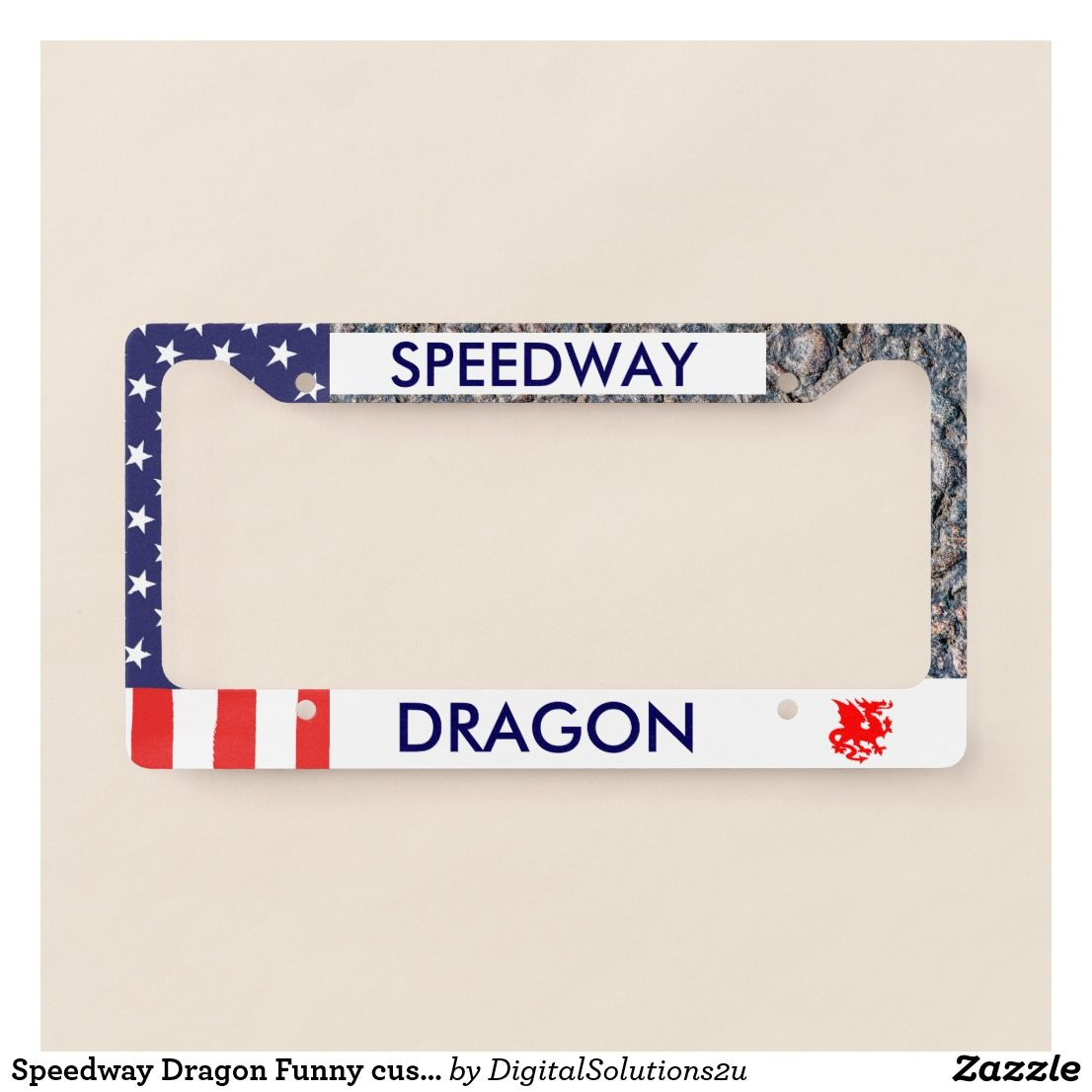 Speedway Dragon Funny customizable License Plate Frame | License ...