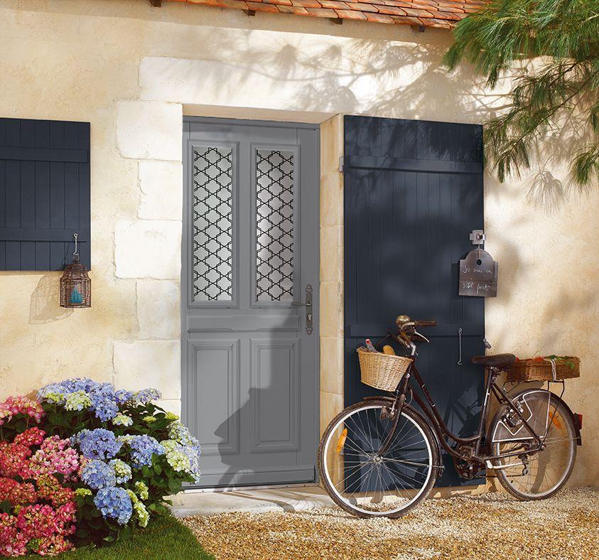 Porte d\u0027entrée bois classique mi vitrée 1/2 vitrée, double vitrage - Peindre Des Portes En Bois