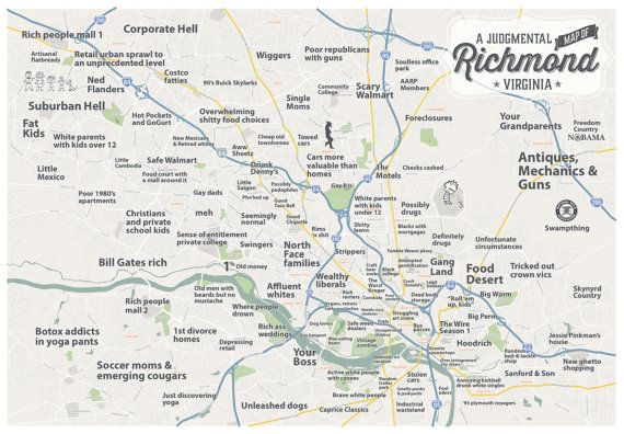Judgmental Map of Richmond Virginia by BenhausDesign on Etsy 2900