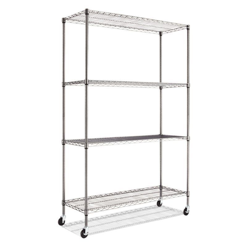 Alera 6 ft. Complete Wire Shelving Unit with Casters - ALESW604818BA ...