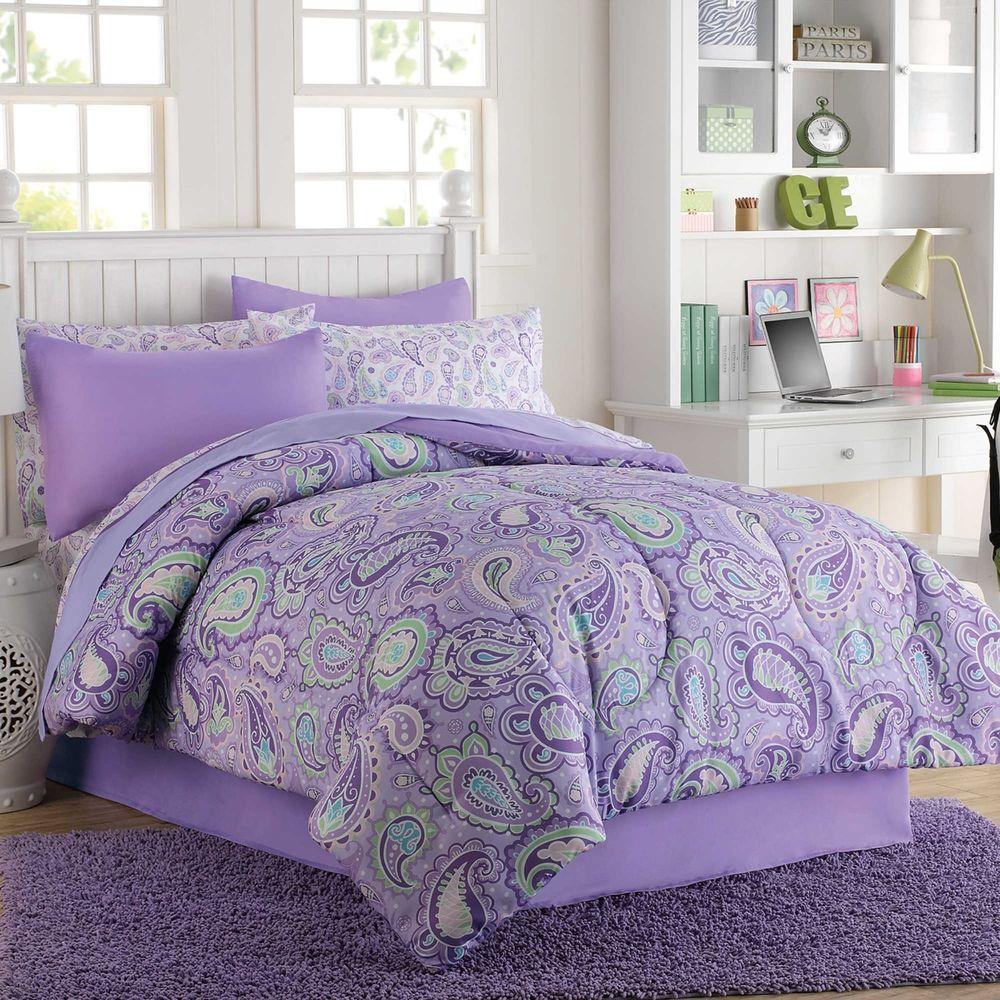 Georgia 8 Pc Full Comforter Shams Sheets Purple Lavender Paisley Girls New Purple Bedding Comforter Sets Mint Bedroom