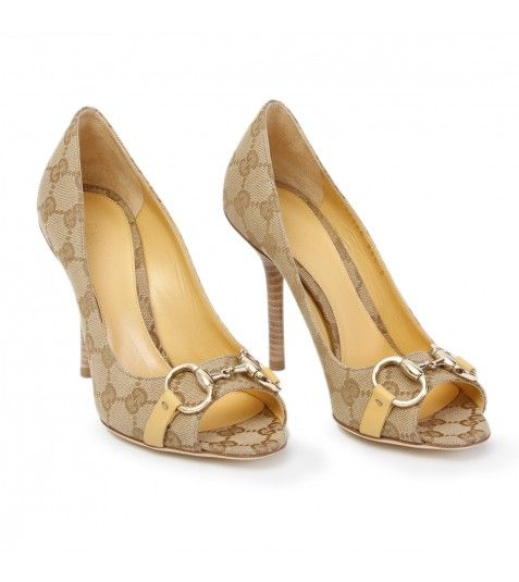 Loving these Gucci Beige GG Logo Peep Toe Shoe