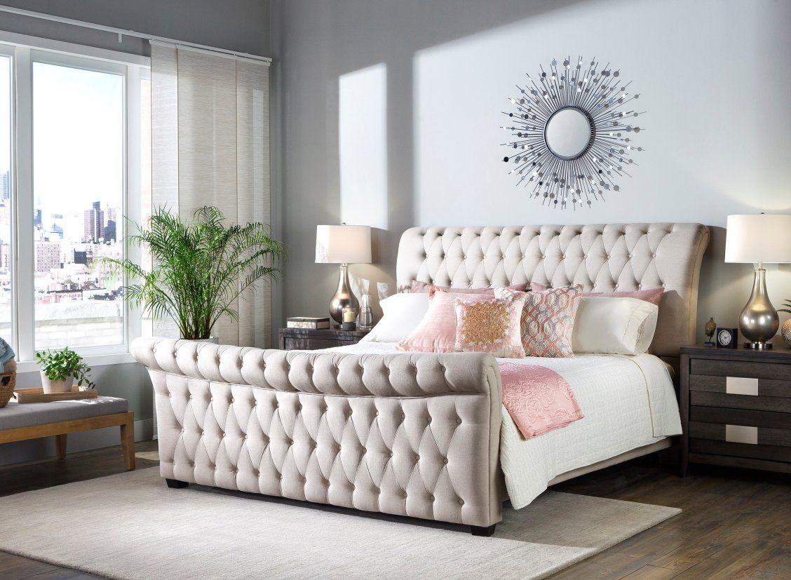 Odette Queen Bed Bedroom Sets Upholstered Headboard Modern
