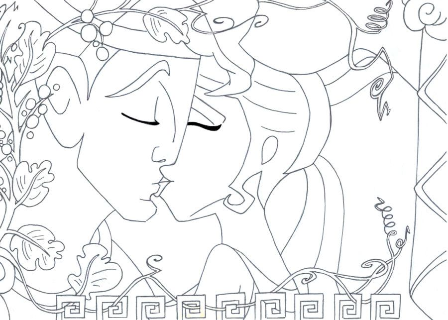 Kiss Hercules And Meg Lineart Art Disney Coloring Pages Greek Art
