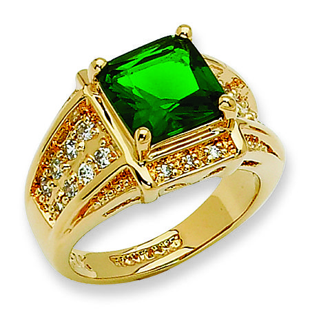 Green princess cut Jackie Kennedy ring