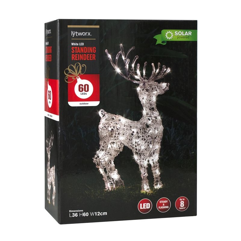 There Was A Warm White One In Bunnings Lytworx 60 Solar Led Standing Reindeer Solar Led Reindeer Led
