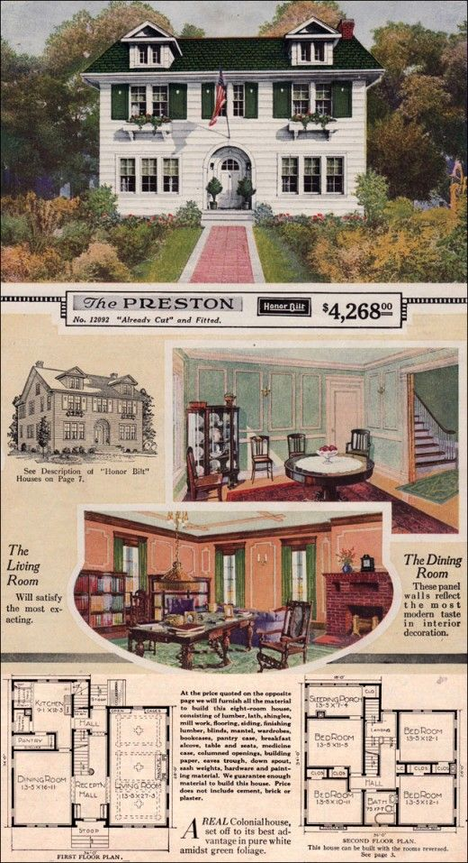 The Preston Home Plan Kit From 1923 Vintage 1920s House Floor Plans House Floor Plans Vintage House Kit Homes