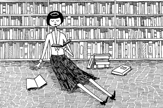 She just wanted to read books and do nothing else // 4x6 book lover bookworm black and white art print