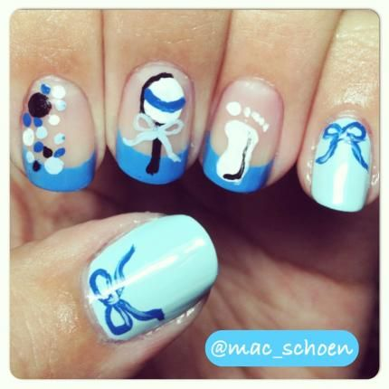 This would be great for a baby shower!! Baby Shower BoysBaby Shower Nails  BoyNail Art ... - This Would Be Great For A Baby Shower!! Cute Nails Pinterest