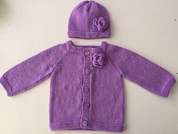 7e66b5d73 Purple baby cardigan hat set