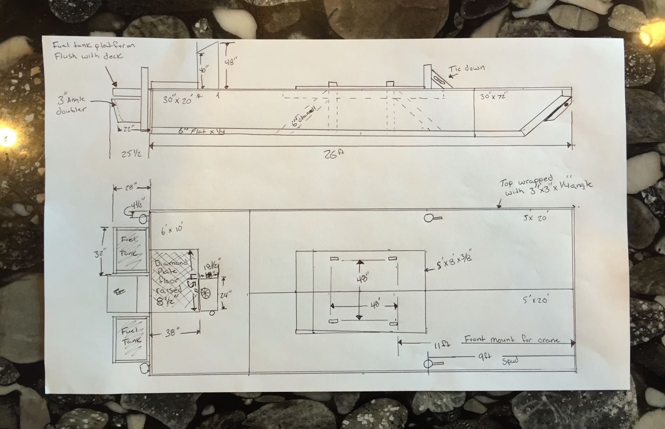 Paper Plans For The Barge With Aluminum Sheet Layout Aluminum