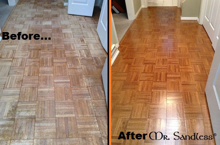 Mr Sandless Before And After Of A Parquet Floor Www Mrsandless Com 877 Wood 360 Parkay Flooring Flooring Parquet Flooring