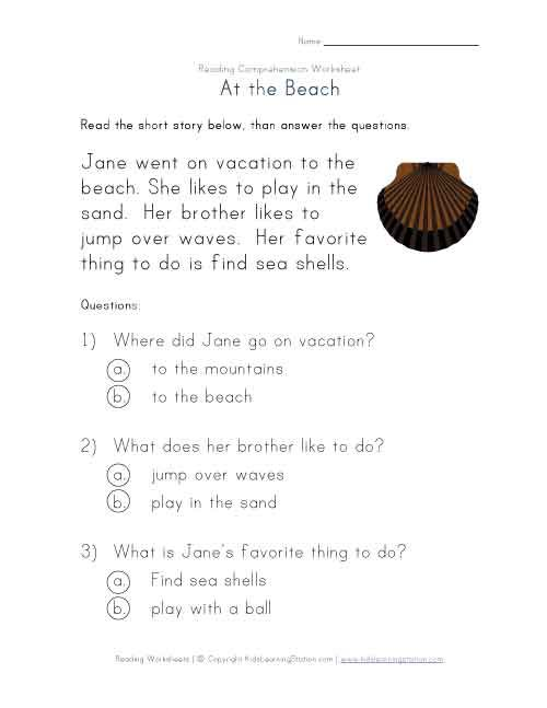 Beginner Reading Comprehension At the Beach – Beginning Reading Worksheets