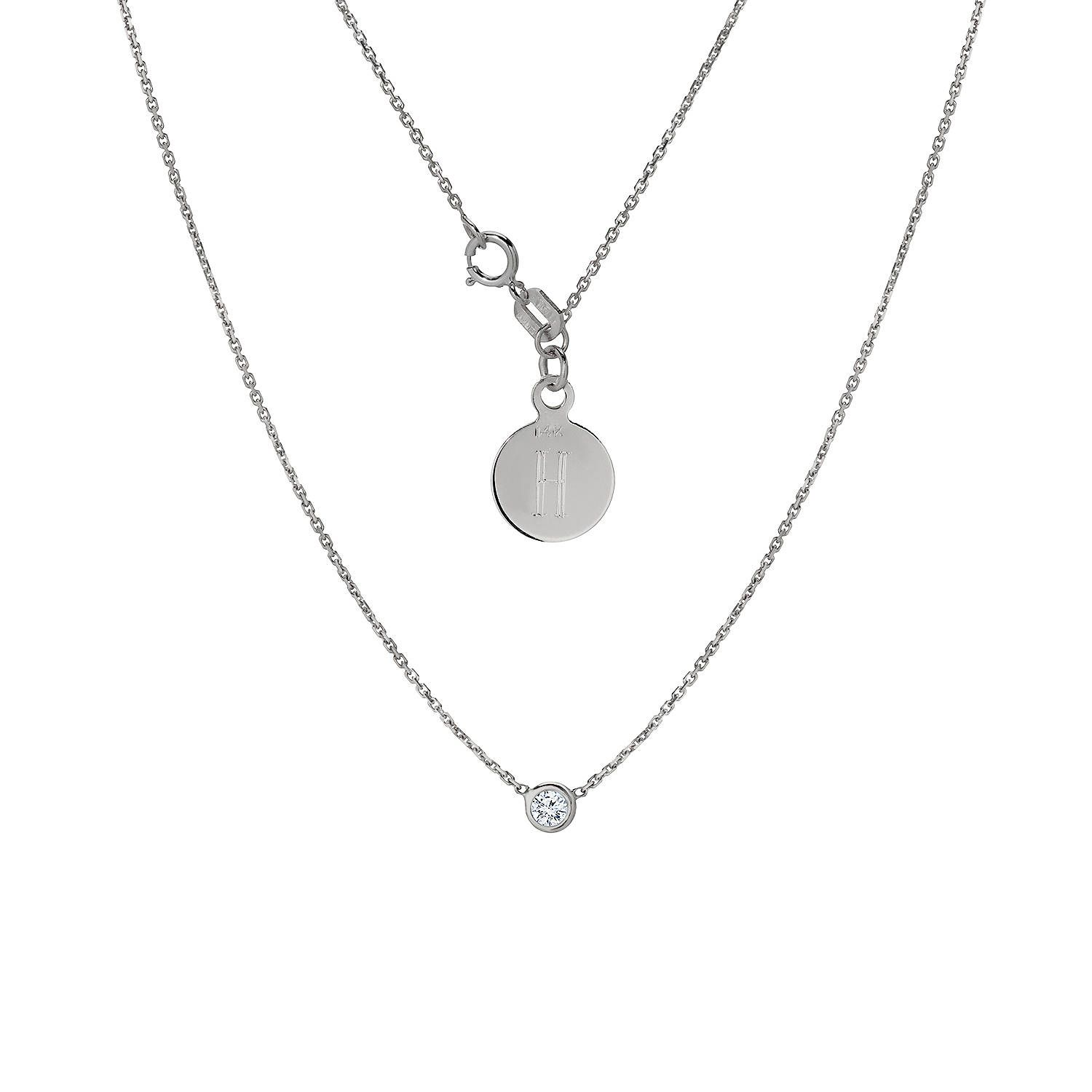 Tousi Jewelers Diamond Necklace Solitaire Pendant- Solid 14k White Gold - Bezel Set Necklaces-Free Personalized Initials Engraving