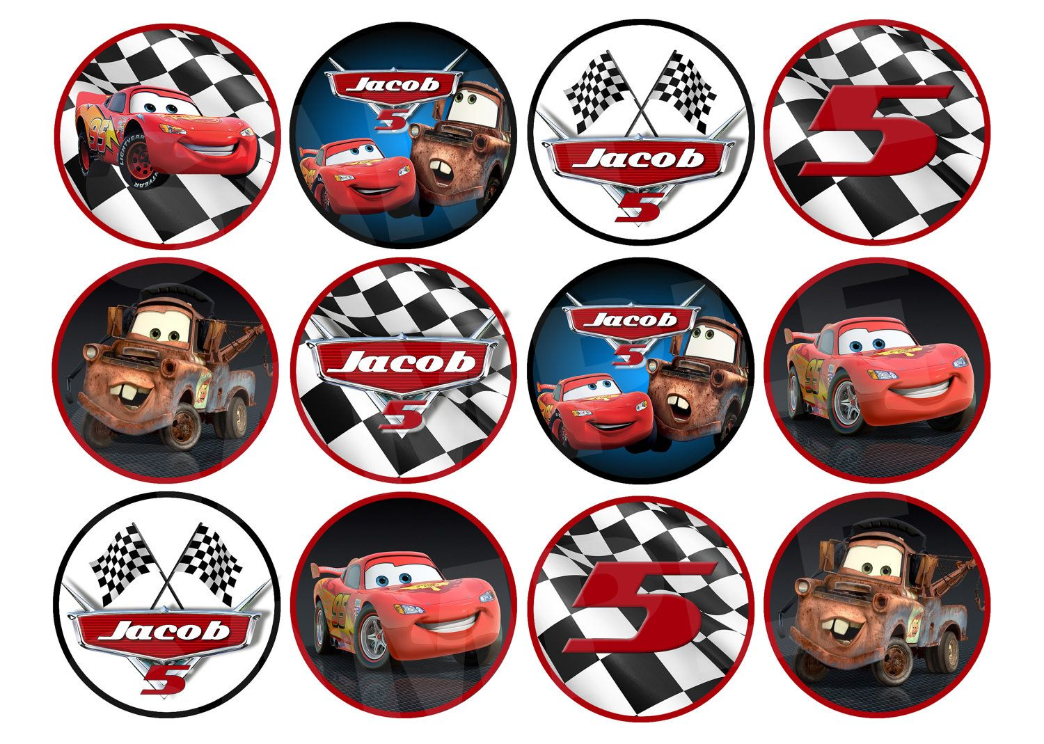 Disney Pixar Cars Personalized Cupcake Toppers